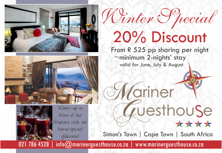 Winter Accommodation Special. Mariner Guesthouse. Simon's Town.